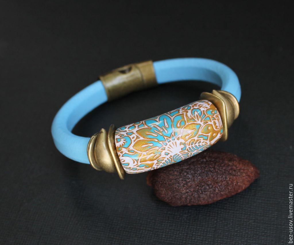 """Браслеты ручной работы. Ярмарка Мастеров - ручная работа. Купить Кожаный браслет Регализ """"Золото на голубом"""". Handmade. Цветы, цветочный"""