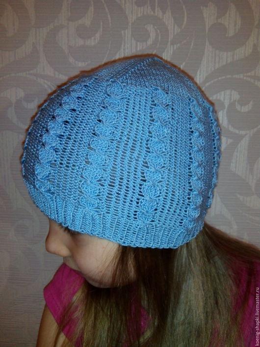 Шапки и шарфы ручной работы. Ярмарка Мастеров - ручная работа. Купить шапочка вязаная ажурная весна. Handmade. Голубой