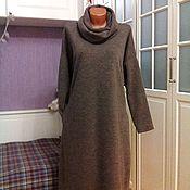 Одежда ручной работы. Ярмарка Мастеров - ручная работа Теплое платье оверсайз со съемным снудом Капучино. Handmade.