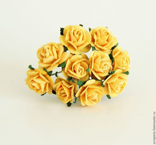 Открытки и скрапбукинг ручной работы. Ярмарка Мастеров - ручная работа. Купить Цветы розы 15 мм цвет желтый. Handmade.