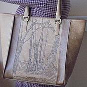 Сумки и аксессуары ручной работы. Ярмарка Мастеров - ручная работа Кожаная сумка с рисунком. Handmade.