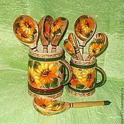 Посуда handmade. Livemaster - original item Wooden spoons Sunflowers. Handmade.