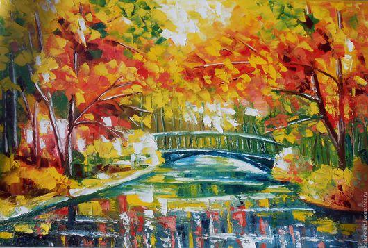 """Пейзаж ручной работы. Ярмарка Мастеров - ручная работа. Купить Картина маслом """"Осень в парке"""" 40х60(пейзаж,парк, по Афремову). Handmade."""