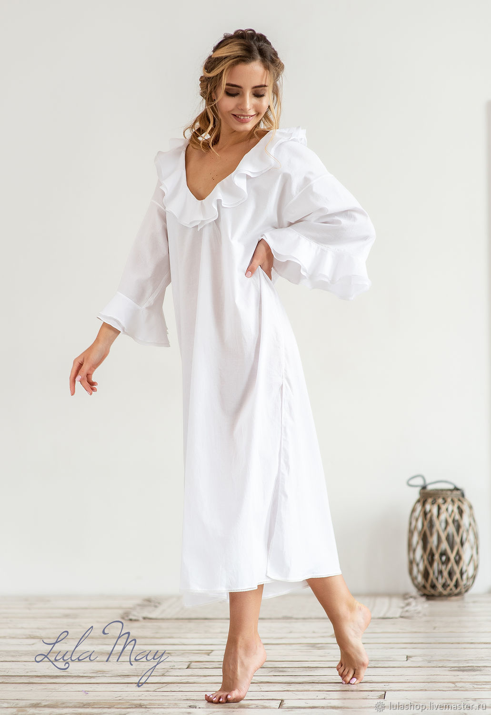 109d9e83d2d1 Ночная рубашка MADAME длинная из белого итальянского батиста – купить в ...
