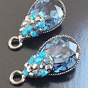 Материалы для творчества handmade. Livemaster - original item Pendant for jewelry art. 7-24 with blue crystal. Handmade.