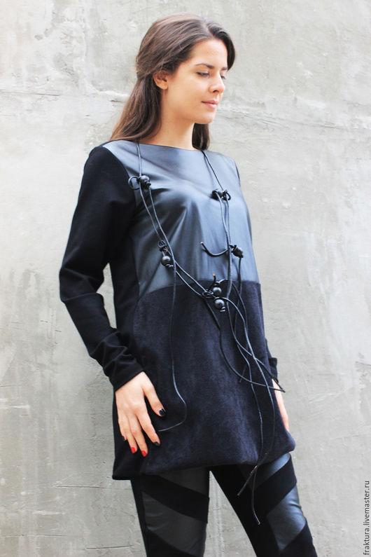 """Топы ручной работы. Ярмарка Мастеров - ручная работа. Купить Комбинированный топ """" Leather"""" B0047. Handmade. Мода2015"""