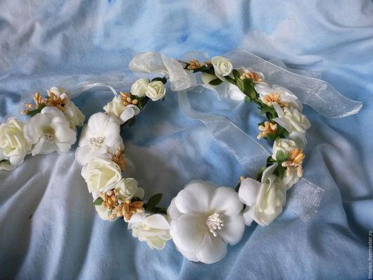 Свадебные украшения ручной работы. Ярмарка Мастеров - ручная работа. Купить свадебный комплект для невесты. Handmade. Венок из цветов, тычинки