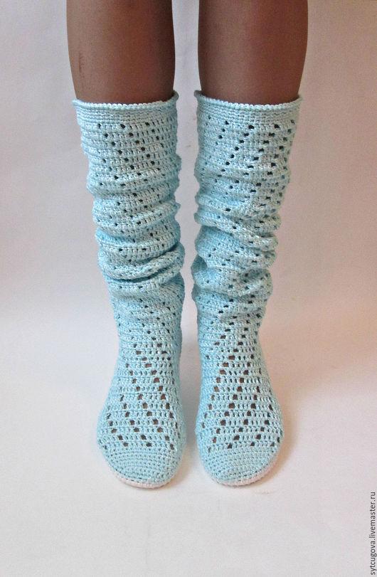 Обувь ручной работы. Ярмарка Мастеров - ручная работа. Купить Вязаные сапожки ... Диагональ. Handmade. Голубой, сапоги вязаные