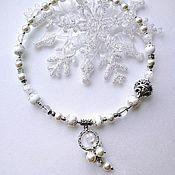 Necklace handmade. Livemaster - original item Necklace snow quartz, agate, pearls and rock crystal. Handmade.