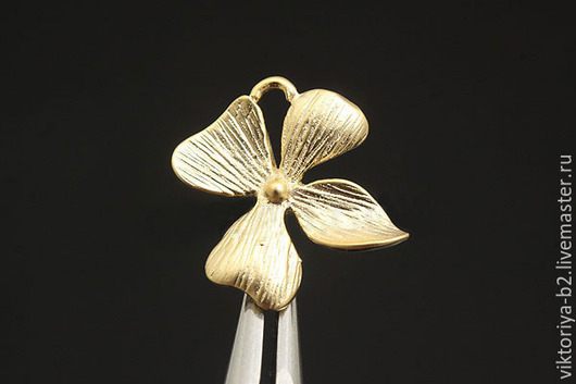 Для украшений ручной работы. Ярмарка Мастеров - ручная работа. Купить Коннектор Орхидея-2, позолота. Южная Корея.. Handmade.