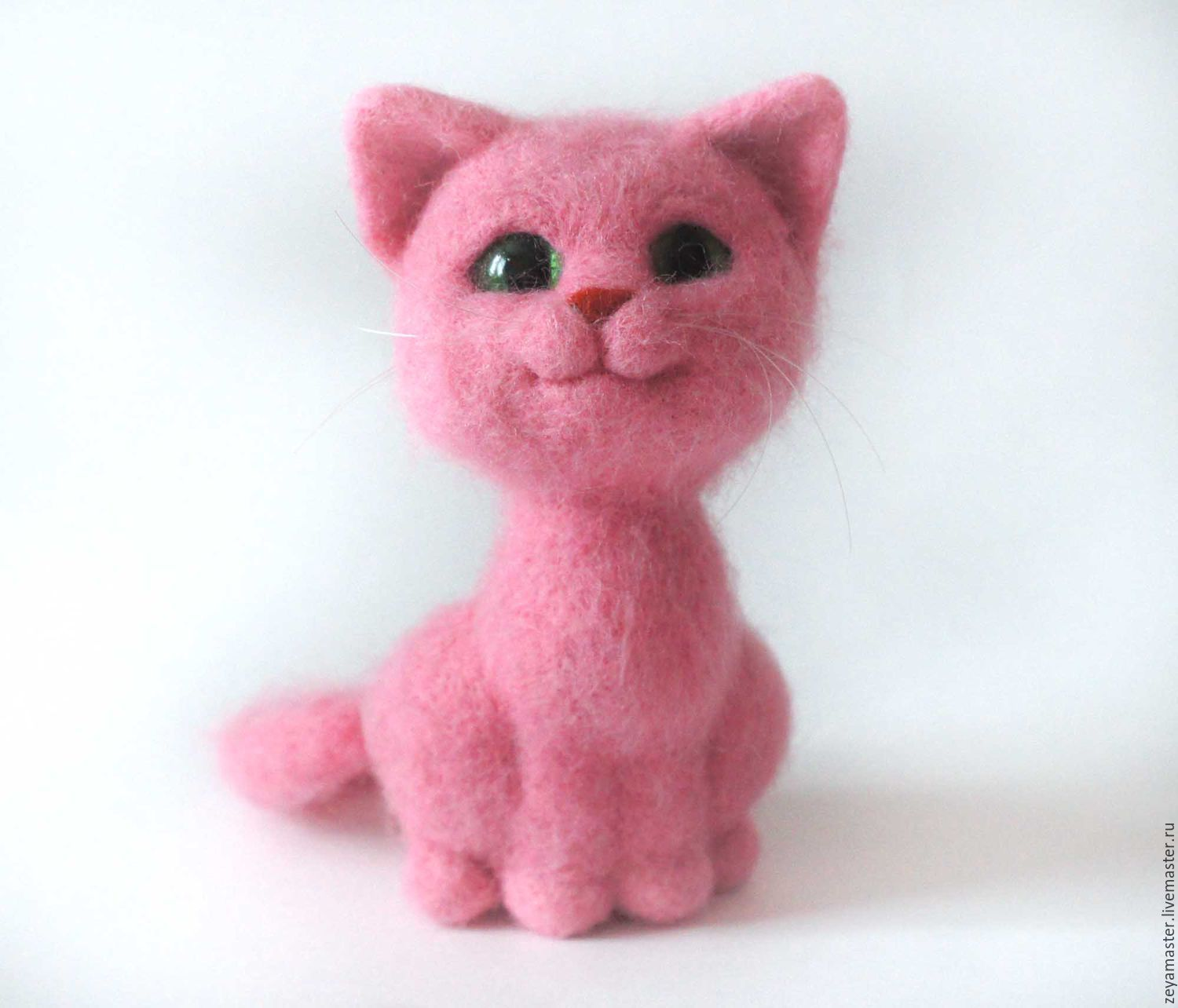 Pink Pussy Felted Toy Made Of Wool