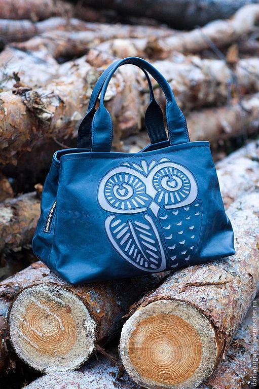 """Женские сумки ручной работы. Ярмарка Мастеров - ручная работа. Купить Женская сумка """"Большая Сова"""". Handmade. Тёмно-синий"""
