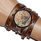 Украшения ручной работы. Ярмарка Мастеров - ручная работа Стимпанк часы наручные на кожаном ремне. Часы с кошкой. Handmade.