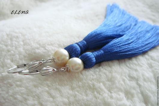 """Серьги ручной работы. Ярмарка Мастеров - ручная работа. Купить Серьги кисти """"BLUE PEARL"""". Handmade. Тёмно-синий"""