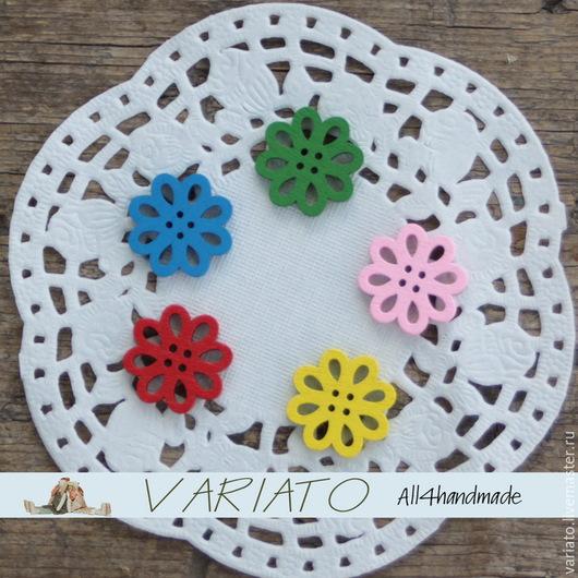 Шитье ручной работы. Ярмарка Мастеров - ручная работа. Купить Пуговицы дерево цветы 20 мм. Handmade. Цветные пуговицы