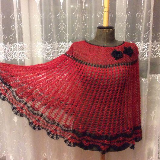 Одежда. Ярмарка Мастеров - ручная работа. Купить Пуховая пелерина, пончо а может и юбка.. Handmade. Ярко-красный, шерсть