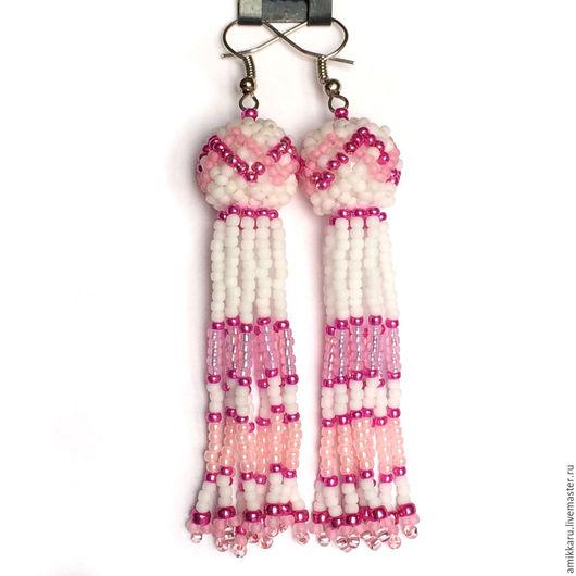 """Серьги ручной работы. Ярмарка Мастеров - ручная работа. Купить Серьги-кисточки из бисера розовые или """"Гламурные осьминожки"""". Handmade."""