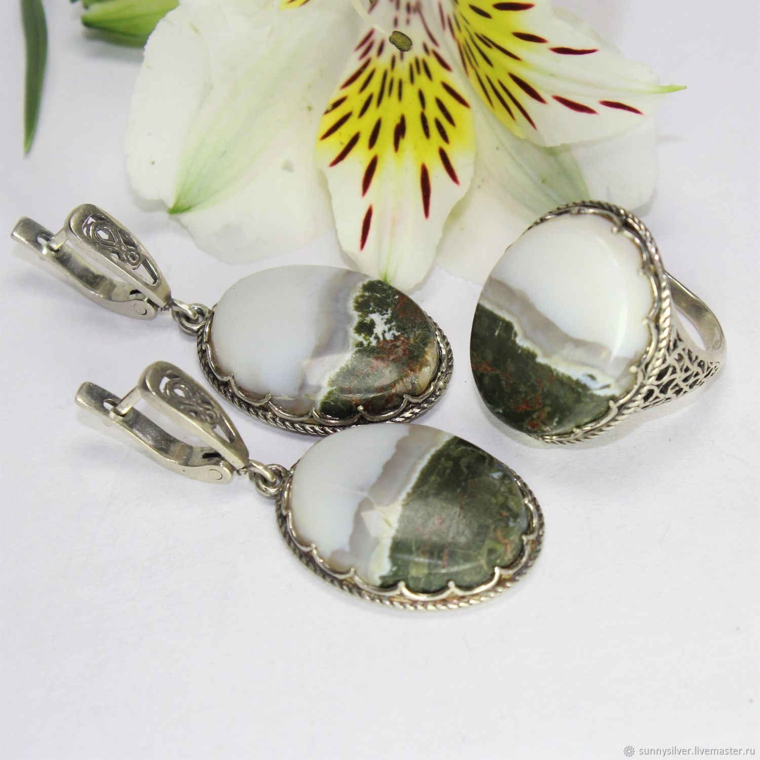 Arabella earrings and ring with landscape agate in 925 sterling silver, Jewelry Sets, Yerevan,  Фото №1