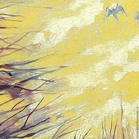Фантазийные сюжеты ручной работы. Ярмарка Мастеров - ручная работа. Купить Любовь. Небо двоих. Handmade. Желтый, любовь, масло