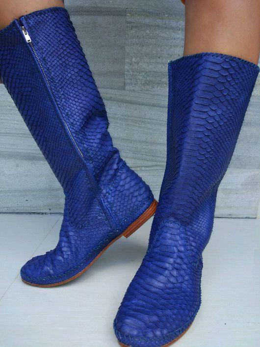 Обувь ручной работы. Ярмарка Мастеров - ручная работа. Купить Сапоги из кожи питона. Handmade. Сапоги из питона, сапоги кожаные
