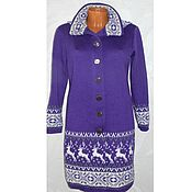 Одежда handmade. Livemaster - original item Coat knit with a Norwegian ornament with the hood. Handmade.