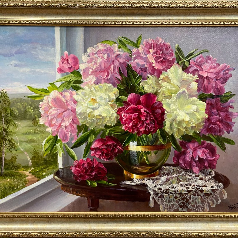 Картина «Букет пионов у окна» 50х70, Картины, Москва,  Фото №1