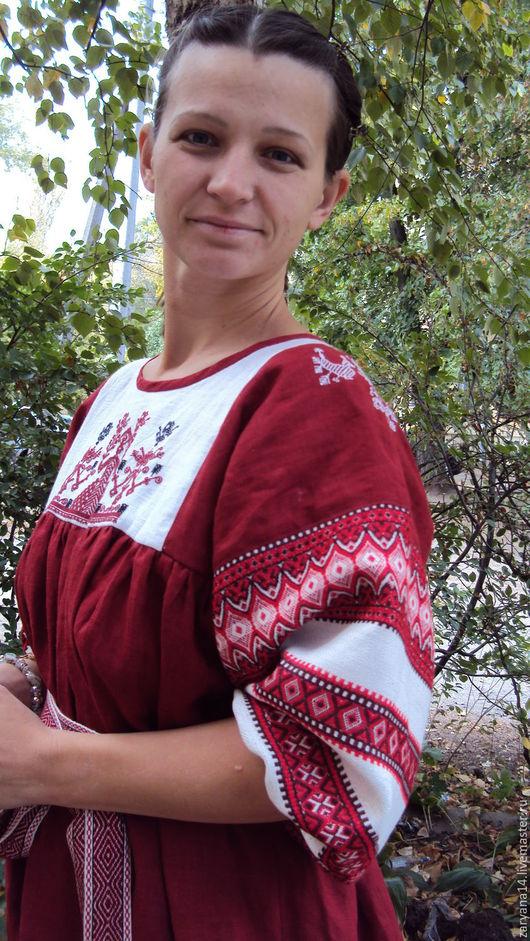 """Платья ручной работы. Ярмарка Мастеров - ручная работа. Купить Платье """"Макошь"""" бордовое. Handmade. Народная одежда, вышитое платье"""
