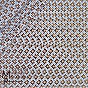 """Материалы для творчества ручной работы. Ярмарка Мастеров - ручная работа Хлопок """"Беллис"""" коричневые цветы на голубом. Handmade."""