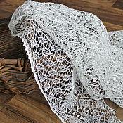 "Шали ручной работы. Ярмарка Мастеров - ручная работа Льняная косынка ""Белый лен"", летняя шаль. Handmade."