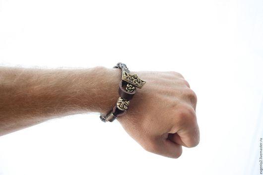 Украшения для мужчин, ручной работы. Ярмарка Мастеров - ручная работа. Купить Кожаный браслет с Молотом Тора. Handmade. Комбинированный, браслеты