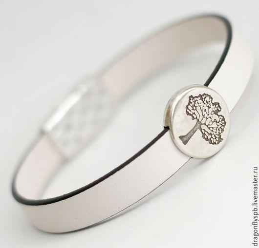 """Браслеты ручной работы. Ярмарка Мастеров - ручная работа. Купить Кожаный браслет """"Дерево"""". Handmade. Натуральная кожа, белый"""