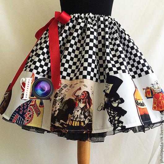 """Юбки ручной работы. Ярмарка Мастеров - ручная работа. Купить Юбка """"Алиса в стране чудес"""". Handmade. Комбинированный, юбка"""
