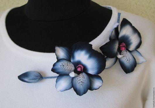 Броши ручной работы. Ярмарка Мастеров - ручная работа. Купить Орхидея Мильтония. Handmade. Тёмно-синий, брошь цветок