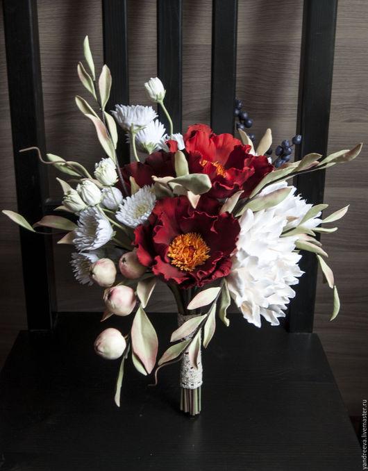 """Свадебные цветы ручной работы. Ярмарка Мастеров - ручная работа. Купить Букет невесты """"Бархатный сезон"""". Handmade. Разноцветный"""