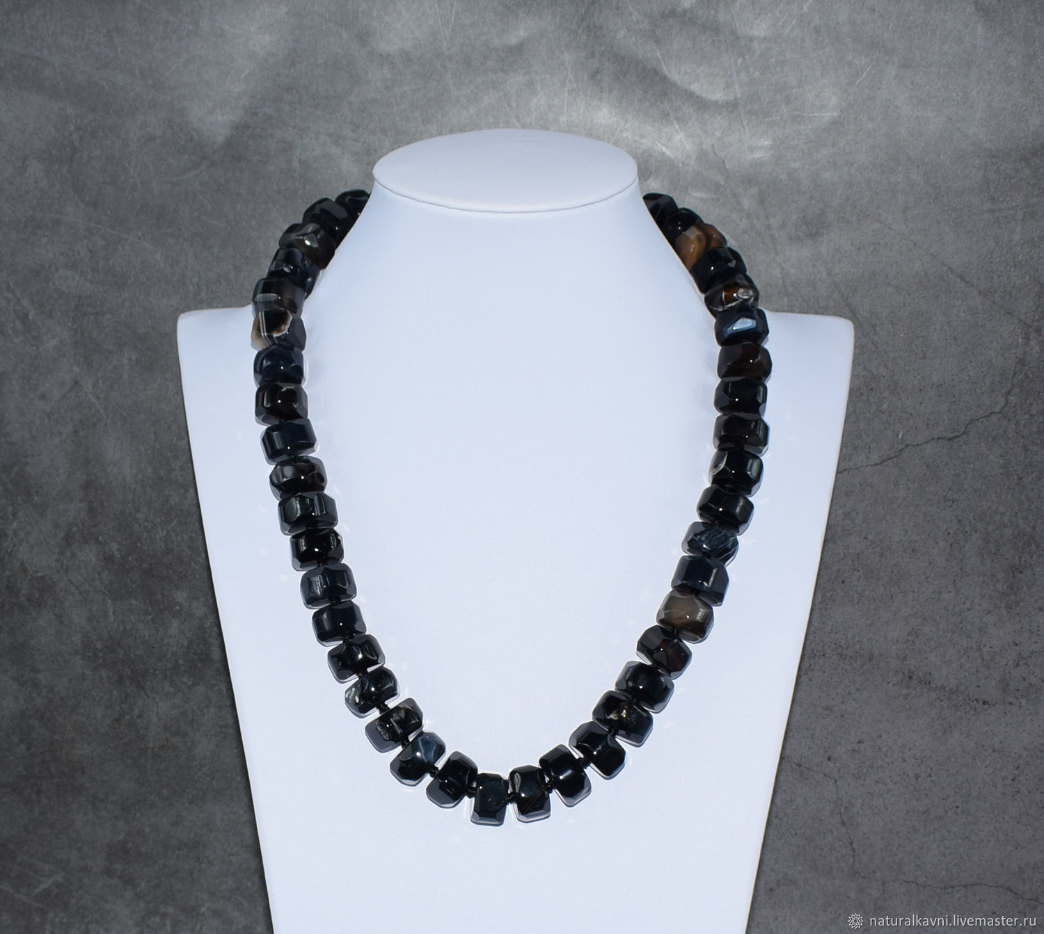 Large beads of natural black agate with cut, Beads2, Moscow,  Фото №1