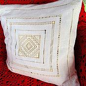 Pillow handmade. Livemaster - original item Pillow case, white linen, hand stitch embroidery. Handmade.