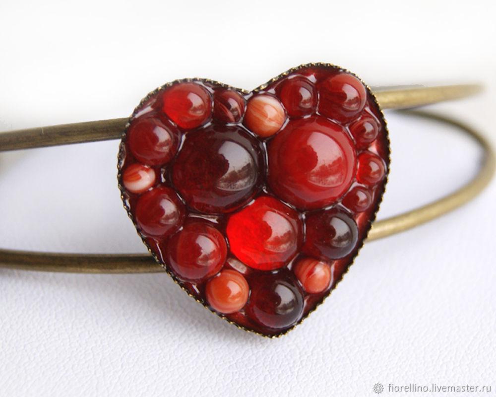 Heart bracelet red color, Hard bracelet, Moscow,  Фото №1