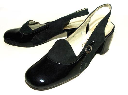 Винтажная обувь. Ярмарка Мастеров - ручная работа. Купить Винтажные туфли, 60-е, 39 размер. Handmade. Черный, босоножки