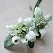 Украшения handmade. Livemaster - original item Silk flowers Brooch Edelweiss Morning in the Alps. Handmade.
