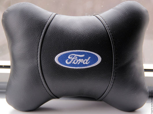 Автомобильные ручной работы. Ярмарка Мастеров - ручная работа. Купить Ford.Автоподушка для шеи.Натуральная кожа. Handmade. Черный