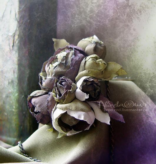 Броши ручной работы. Ярмарка Мастеров - ручная работа. Купить Цветы из ткани Брошь бронзовый букет. Handmade. Цветок, болотный