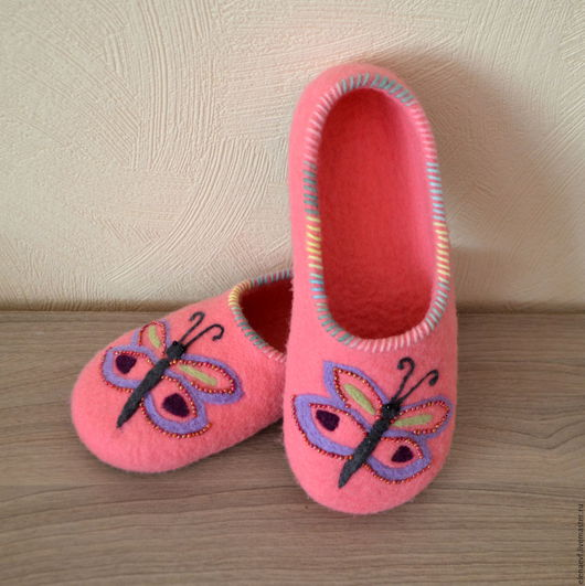 Обувь ручной работы. Ярмарка Мастеров - ручная работа. Купить Детские валяные тапочки. Handmade. Розовый, тапочки валяные