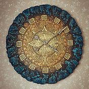 Для дома и интерьера ручной работы. Ярмарка Мастеров - ручная работа Светящиеся настенные часы 55 см Майянское золото. Handmade.