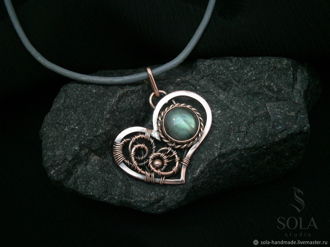 Copper Pendant With Labradorite Heart Shop Online On Livemaster