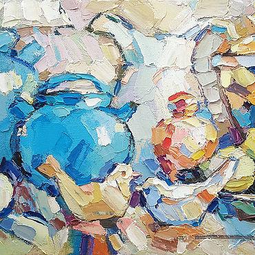 """Картины и панно ручной работы. Ярмарка Мастеров - ручная работа Натюрморт с фруктами. """"Осенний натюрморт с птичками"""". Handmade."""