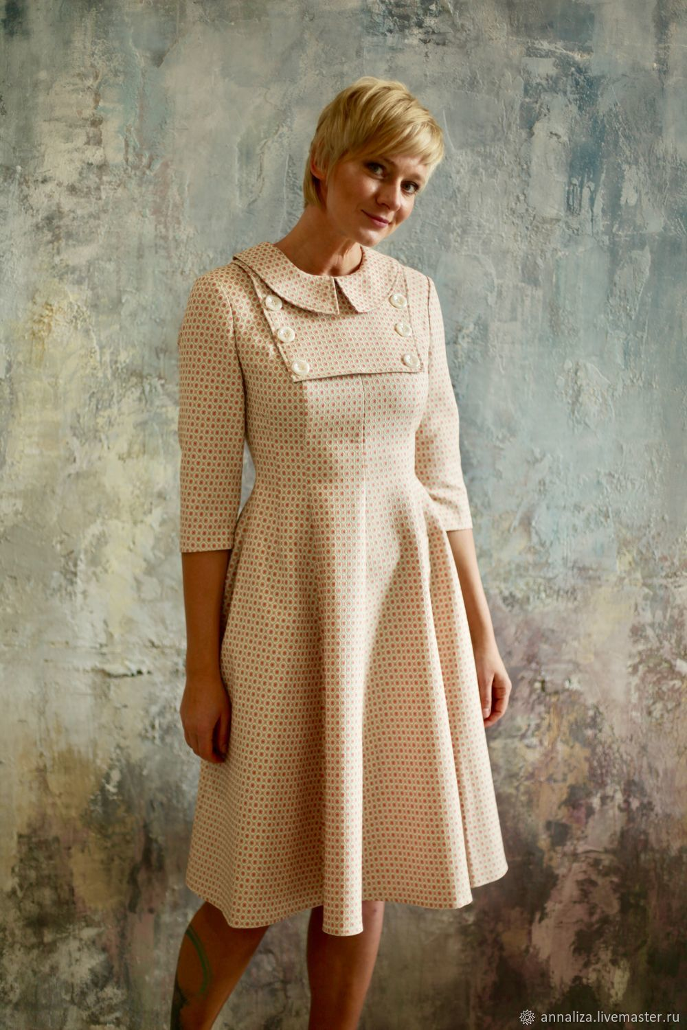 Dress in retro style 'time Machine' cream, Dresses, Moscow,  Фото №1