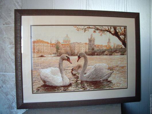 Пейзаж ручной работы. Ярмарка Мастеров - ручная работа. Купить Лебеди в Праге. Handmade. Бежевый, лебеди