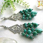 Украшения handmade. Livemaster - original item Earrings with green turquoise. Handmade.