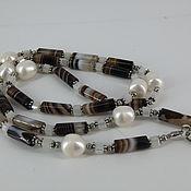 Украшения handmade. Livemaster - original item A necklace of pearls and agate Botswana