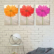 """Картины и панно ручной работы. Ярмарка Мастеров - ручная работа """"Три герберы"""" модульная картина. Handmade."""